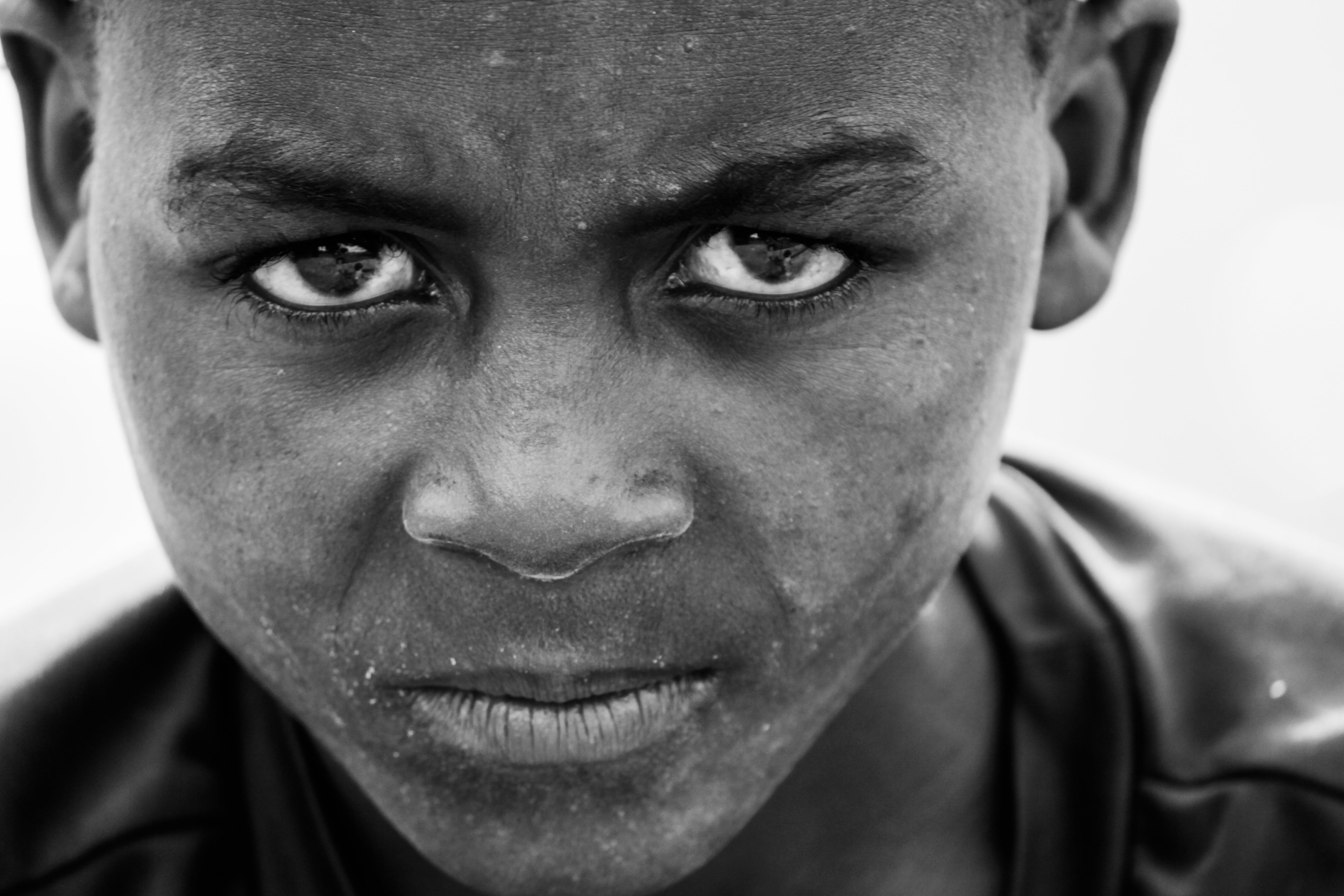 Boy's Face Gray Scale Photo