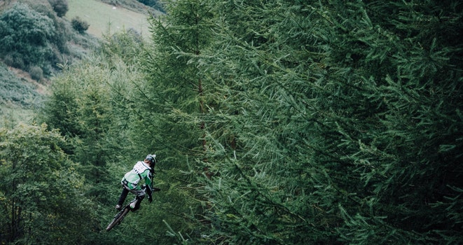 Person Jumping on a Bike in the Woods