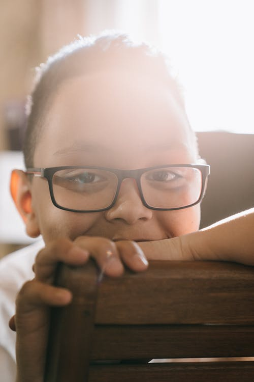 Boy in Black Framed Eyeglasses