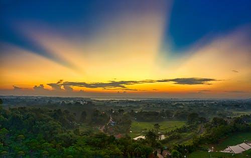 インドネシア, ゴールデンアワー, ドローン写真の無料の写真素材