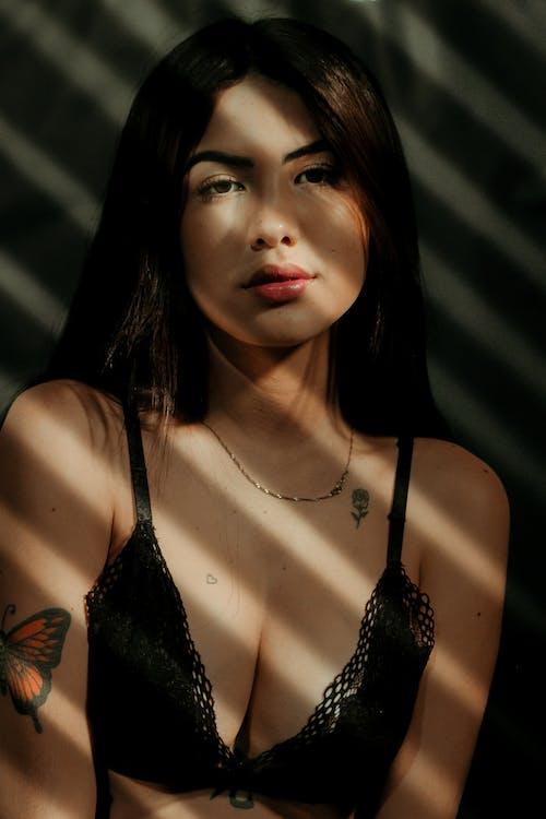 Woman in Black Lace Brassiere