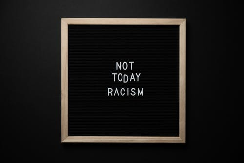 Slogan Not Today Racism on black signboard