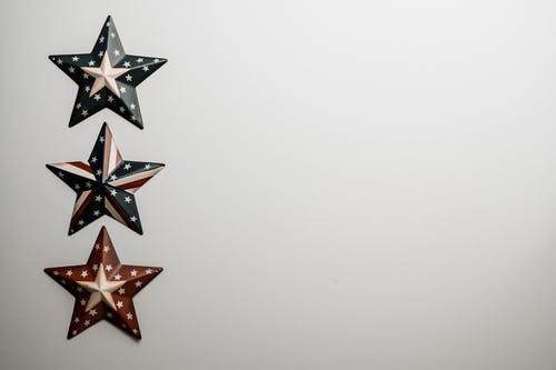 Row of raised army stars with stars and stripes