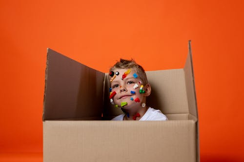 Brown Haired Doll in Brown Cardboard Box