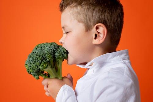 Boy in White Dress Shirt Holding Green Vegetable