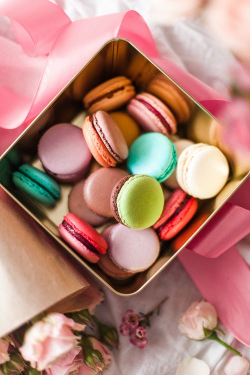 Macaroons in gold plated box
