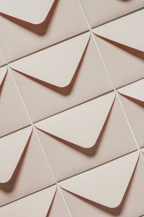 Beige envelopes with triangular seal flap