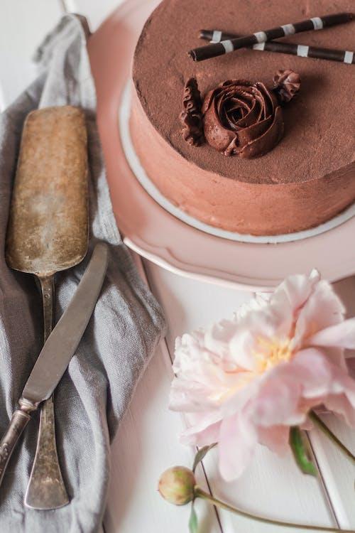 Chocolate cake and kitchen utensils near peony