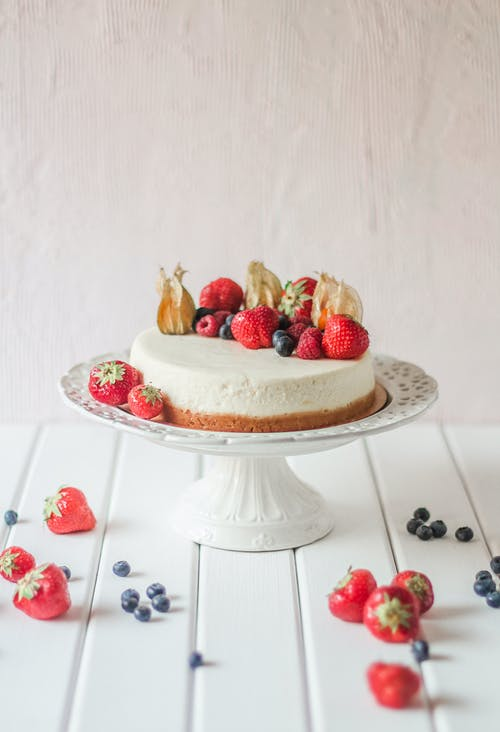 Delicious cake decorated with berries