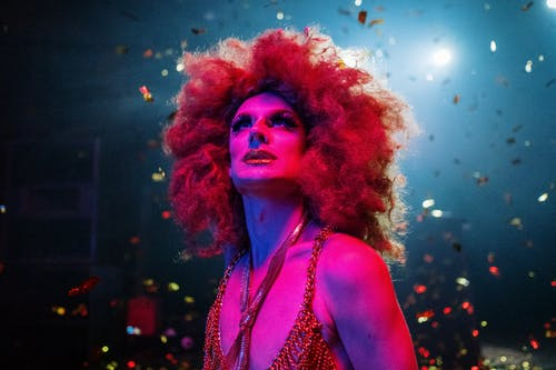 Drag Queen With an Afro Wig