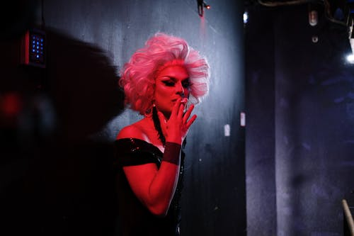 Drag Queen Smoking a Cigarette