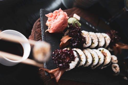 Sushi on Black Rectangular Tray