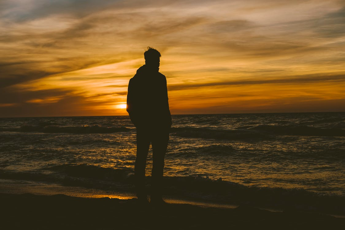 Silhouette of Person Standing on Seashore during Sunset