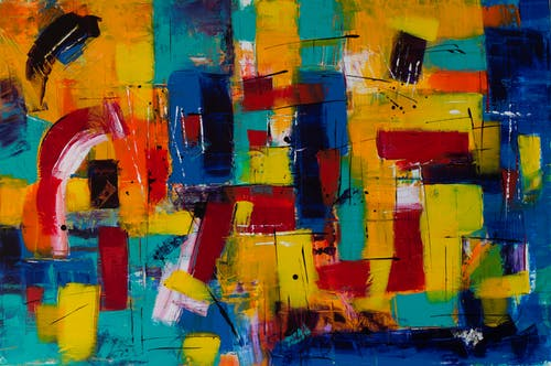 Red Yellow Blue and Purple Abstract Painting