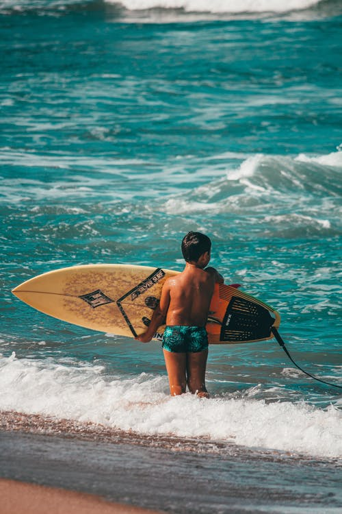 Back view  anonymous boy surfer in swimming trunks carrying surfboard and standing in seawater on clear sunny day