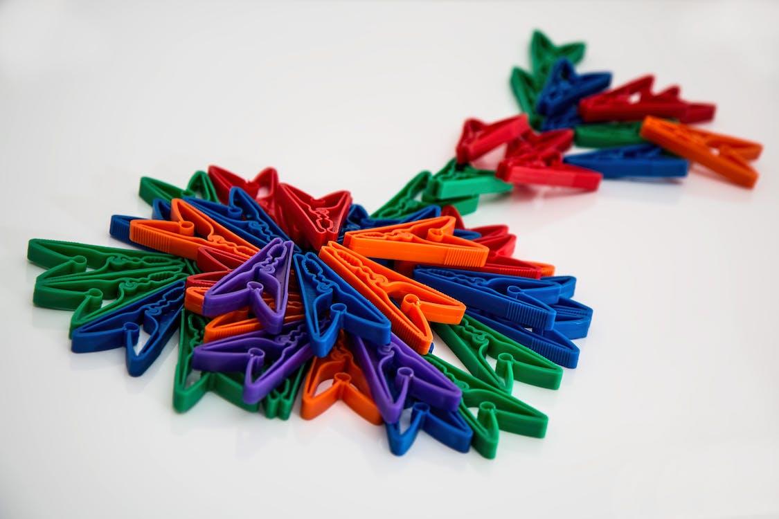 dizajn, farebný, kolíky na šaty