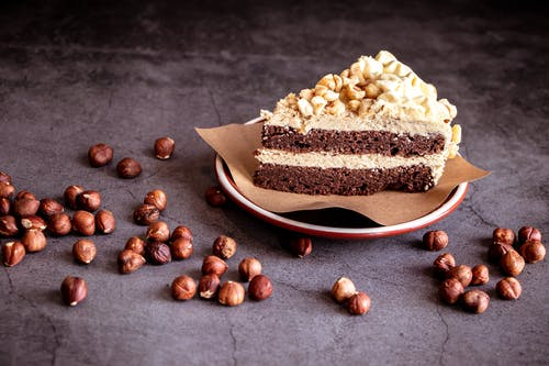 Close-Up Shot of a Slice of Cake with Nuts