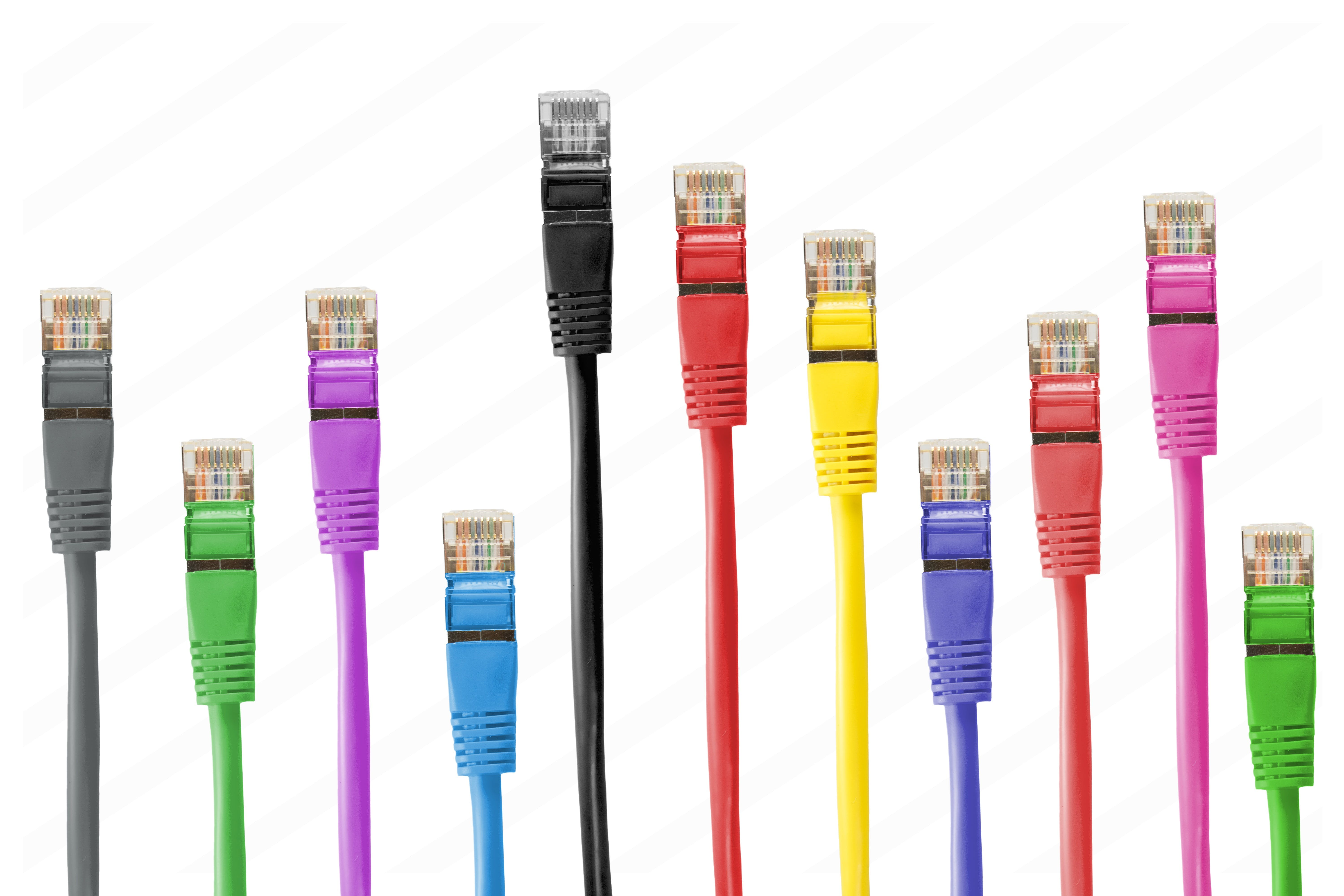 Internet Cable Lot on White Backgroudn