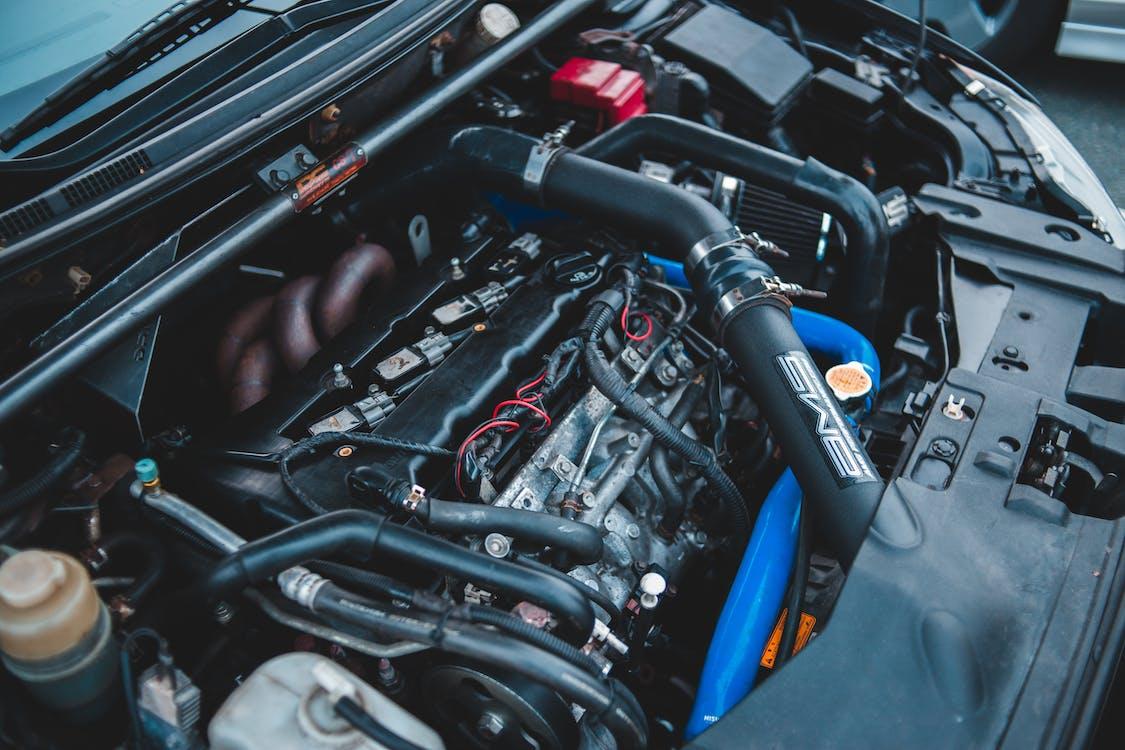 Engine of car under opened hood