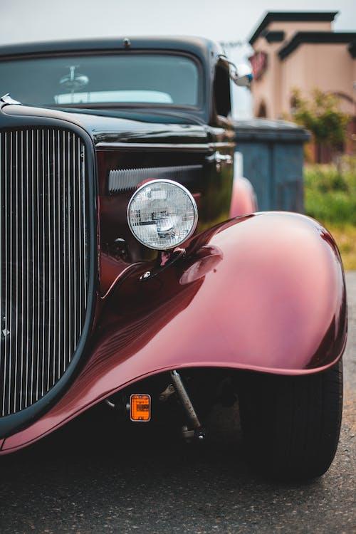 Luxury vintage car on city street