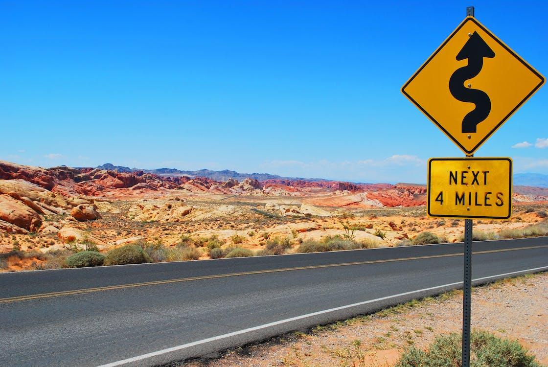 asphalt, danger, desert landscape