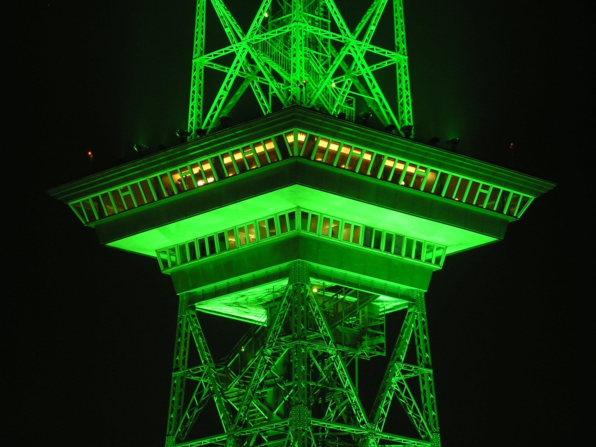 Green Lighted Tower