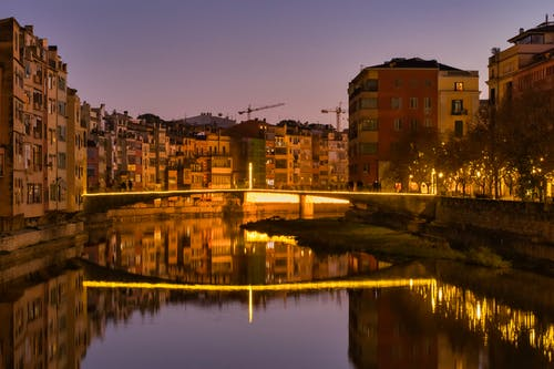 Free stock photo of bridge, buildings, city, lights