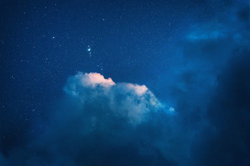 Blue and White Sky With Stars