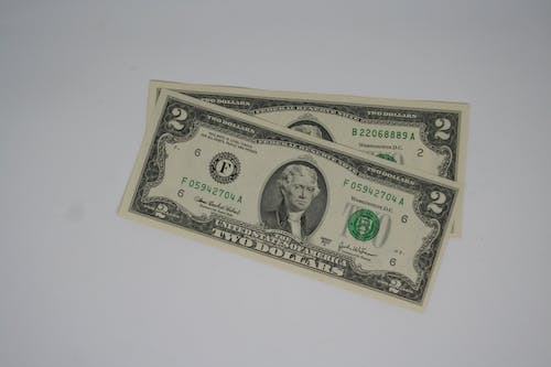 Free stock photo of dollar, money, two