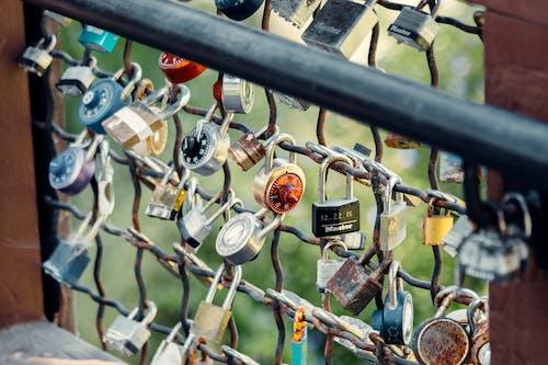 Numerous padlocks on metal bridge railing