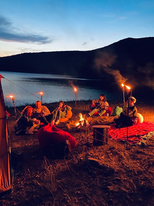 Free stock photo of camp fire, sunset