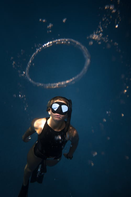Man in Black Swimming Goggles and Black Goggles Under Water