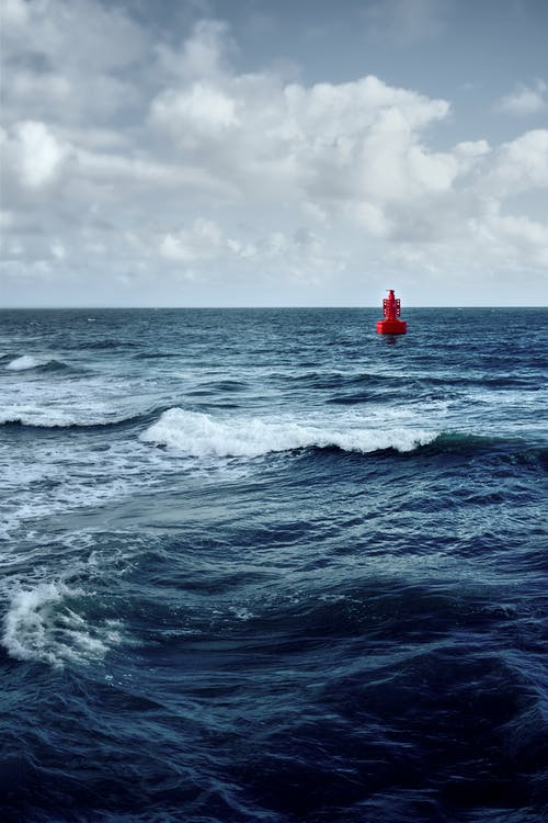 Person in Red Shirt Standing on Red Surfboard on Sea Waves