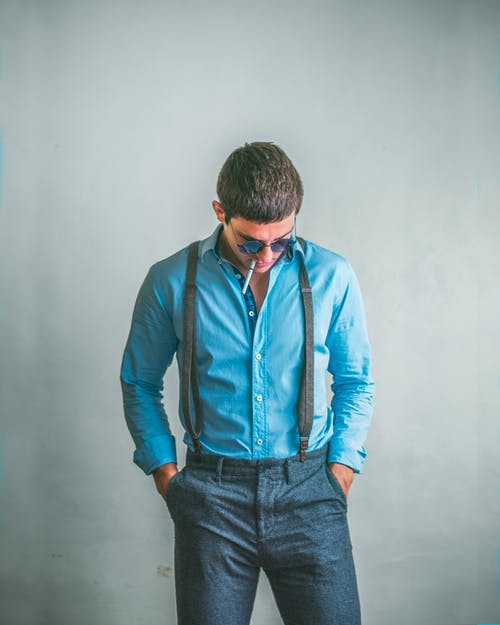 Man in Blue Denim Jeans and Blue Dress Shirt