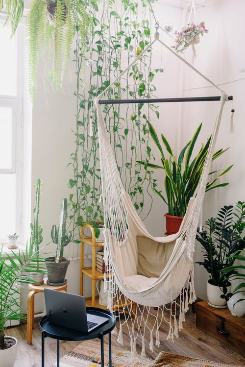 Modern room interior with hammock and laptop on table