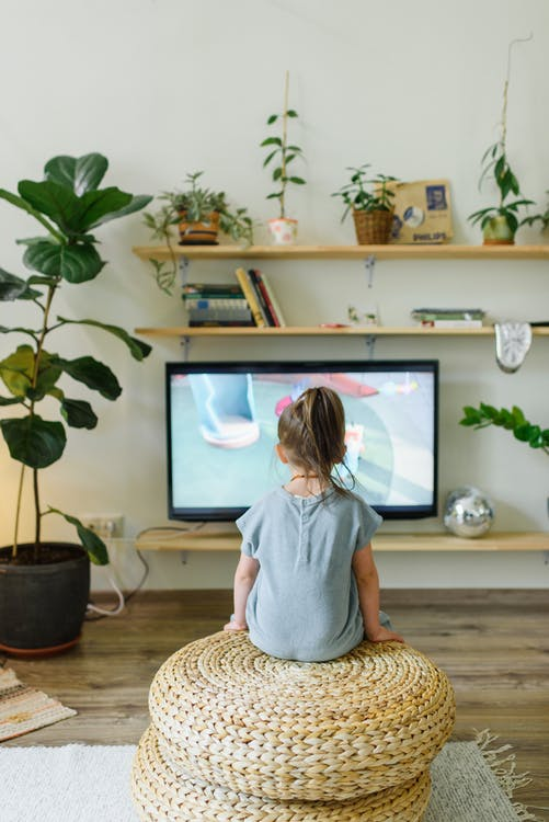 Back view of unrecognizable little kid watching television in living room with potted plants in house