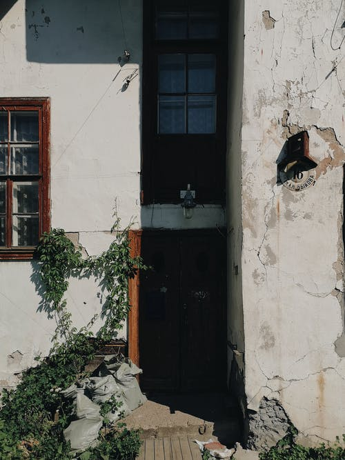 Old house with shabby walls