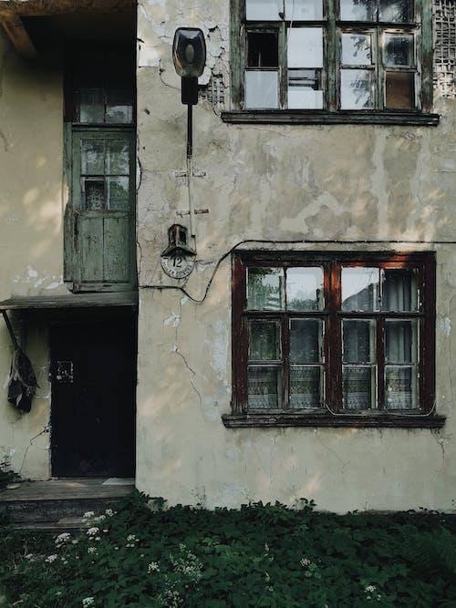 Facade of shabby residential house