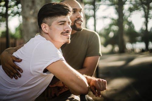 Two Happy Men Outside