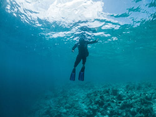 Full length anonymous person in snorkeling mask and flippers swimming in blue seawater near reefs