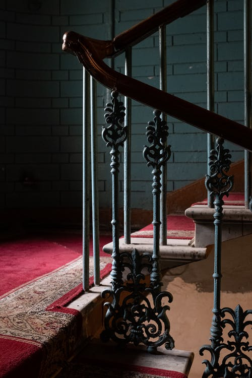 Red and Black Concrete Staircase