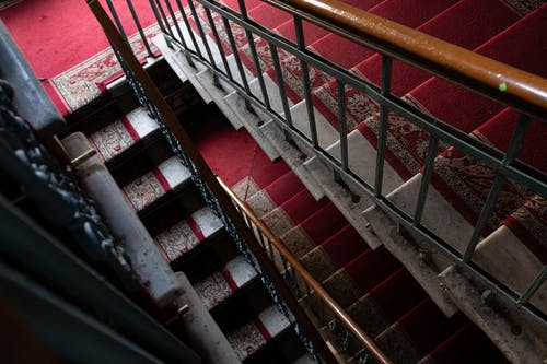Red and White Metal Staircase
