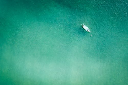 Lonely boat in clear sea