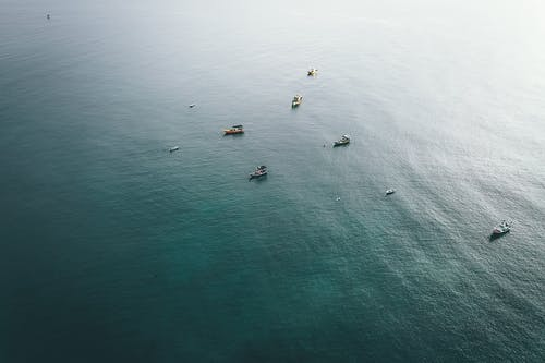 Fishing boats floating in calm sea