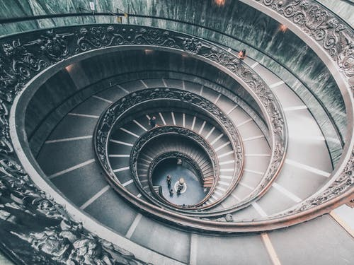 Photo of a Spiral Staircase in Vatican Museum