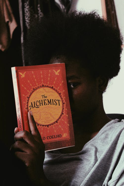 Person Holding a Red and Brown Book