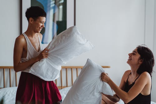 Two Women Having a Pillow Fight