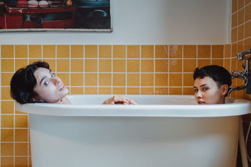 Two Women Taking a Bath Together