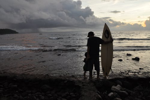 Free stock photo of beach, father and son, surfer