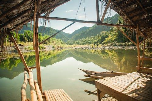 Free stock photo of bahay kubo, lake, landscape, nipa hut